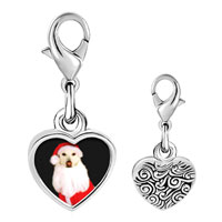 Link Charm Bracelet - 925  sterling silver santa dog photo heart frame link charm Image.