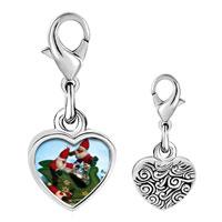 Link Charm Bracelet - 925  sterling silver santas on sleigh photo heart frame link charm Image.