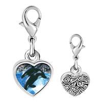 Link Charm Bracelet - 925  sterling silver killer whale show photo heart frame link charm Image.