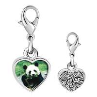 Link Charm Bracelet - 925  sterling silver panda bear photo heart frame link charm Image.