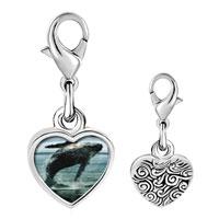 Link Charm Bracelet - 925  sterling silver humpback whale over ocean photo heart frame link charm Image.
