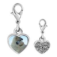Link Charm Bracelet - 925  sterling silver polar bear hug photo heart frame link charm Image.