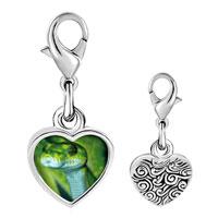 Link Charm Bracelet - 925  sterling silver green snake photo heart frame link charm Image.