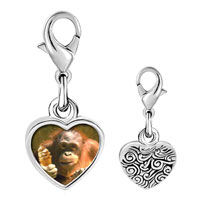 Link Charm Bracelet - 925  sterling silver ice cream chimpanzee photo heart frame link charm Image.