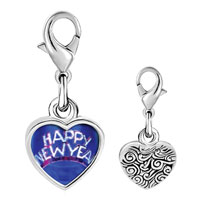 Link Charm Bracelet - 925  sterling silver happy new year hat photo heart frame link charm Image.