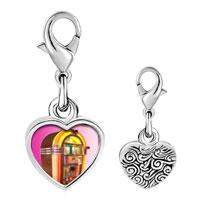 Link Charm Bracelet - 925  sterling silver rock ' n'  roll jukebox photo heart frame link charm Image.