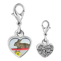 Link Charm Bracelet - 925  sterling silver bunny skateboarder photo heart frame link charm Image.