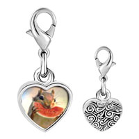 Link Charm Bracelet - 925  sterling silver squirrel and sweet watermelon photo heart frame link charm Image.