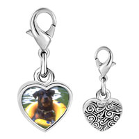 Link Charm Bracelet - 925  sterling silver dog swimming with floaty photo heart frame link charm Image.