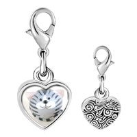 Link Charm Bracelet - 925  sterling silver puffball grey stripes cat photo heart frame link charm Image.