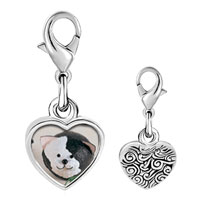 Link Charm Bracelet - 925  sterling silver puffball black white cat photo heart frame link charm Image.