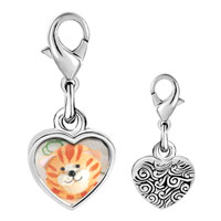 Link Charm Bracelet - 925  sterling silver puffball cat photo heart frame link charm Image.