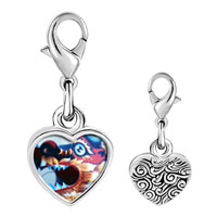 Link Charm Bracelet - 925  sterling silver dragon chinese new year photo heart frame link charm Image.