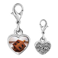 Link Charm Bracelet - 925  sterling silver eight day hanukkah dreidel photo heart frame link charm Image.