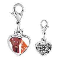 Link Charm Bracelet - 925  sterling silver paper dogs photo heart frame link charm Image.