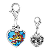 Link Charm Bracelet - 925  sterling silver chinese new year dragon photo heart frame link charm Image.