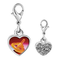 Link Charm Bracelet - 925  sterling silver plastic orange dreidel photo heart frame link charm Image.