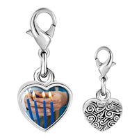 Link Charm Bracelet - 925  sterling silver blue hanukkah candles photo heart frame link charm Image.