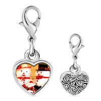 Link Charm Bracelet - 925  sterling silver mr. &  mrs.  snowman photo heart frame link charm Image.