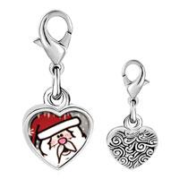 Link Charm Bracelet - 925  sterling silver surprised santaphoto heart frame link charm Image.