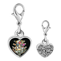 Link Charm Bracelet - 925  sterling silver trinket christmas tree photo heart frame link charm Image.