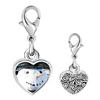 Link Charm Bracelet - 925  sterling silver real snowman photo heart frame link charm Image.