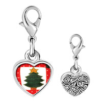 Link Charm Bracelet - 925  sterling silver christmas tree quilt square photo heart frame link charm Image.