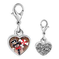 Link Charm Bracelet - 925  sterling silver gingerbread man cookie and halloween candy photo heart frame charm pendant with lobster clasp for charms bracelet or necklace Image.