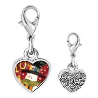 Link Charm Bracelet - 925  sterling silver snowman stamp photo heart frame link charm Image.
