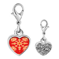 Link Charm Bracelet - 925  sterling silver embroidered red cloth photo heart frame link charm Image.