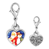 Link Charm Bracelet - 925  sterling silver santa and frosty the snowman photo heart frame link charm Image.