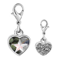 Link Charm Bracelet - 925  sterling silver glowing star ornament photo heart frame link charm Image.