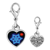 Link Charm Bracelet - 925  sterling silver neon snow flakes photo heart frame link charm Image.