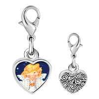 Link Charm Bracelet - 925  sterling silver angel with drooping halo photo heart frame link charm Image.