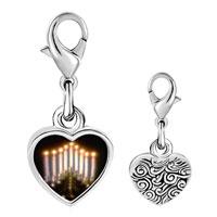 Link Charm Bracelet - 925  sterling silver lit menorah photo heart frame link charm Image.