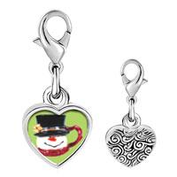 Link Charm Bracelet - 925  sterling silver snowman mug photo heart frame link charm Image.