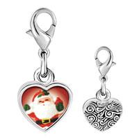 Link Charm Bracelet - 925  sterling silver merry santa photo heart frame link charm Image.