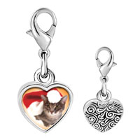 Link Charm Bracelet - 925  sterling silver christmas cat photo heart frame link charm Image.