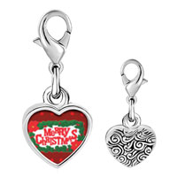 Link Charm Bracelet - 925  sterling silver merry christmas and holly photo heart frame link charm Image.