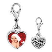 Link Charm Bracelet - 925  sterling silver baby santa photo heart frame link charm Image.