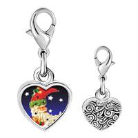 Link Charm Bracelet - 925  sterling silver santa crescent photo heart frame link charm Image.