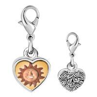Link Charm Bracelet - 925  sterling silver terra cotta sunphoto heart frame link charm Image.
