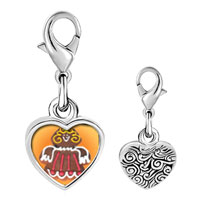 Link Charm Bracelet - 925  sterling silver gingerbread angel photo heart frame link charm Image.