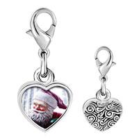 Link Charm Bracelet - 925  sterling silver santa statue photo heart frame link charm Image.