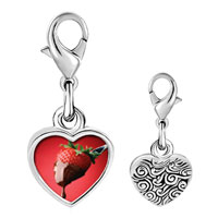 Link Charm Bracelet - 925  sterling silver chocolate dipped strawberry photo heart frame link charm Image.