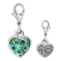 Link Charm Bracelet - 925  sterling silver green peacock feathersphoto heart frame link charm Image.