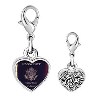 Link Charm Bracelet - 925  sterling silver usa passport photo heart frame link charm Image.