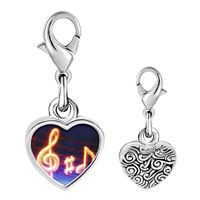 Link Charm Bracelet - 925  sterling silver music note g treble clef photo heart frame link charm Image.