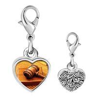 Link Charm Bracelet - 925  sterling silver judge' s tool gavel photo heart frame link charm Image.