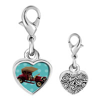 Link Charm Bracelet - 925  sterling silver miniature antique car photo heart frame link charm Image.